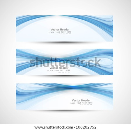 Abstract header blue wave technology vector - stock vector