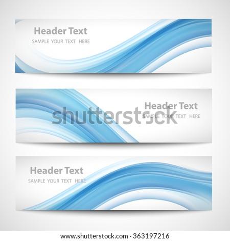 Abstract header blue wave white vector design - stock vector
