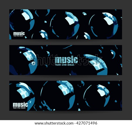 Abstract header or banner set. Feel the beat. Creative design. Free music images. Festival Vector mockup. DJ poster design. DJ background. Dj set. Dance party. Vector. Isolated. - stock vector