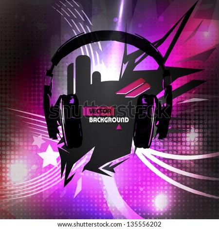 abstract headphones background - stock vector