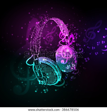 Abstract Headphones cover with note easy all editable - stock vector