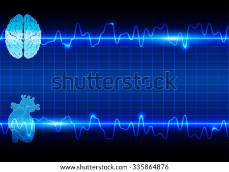 abstract heart and brain on Healthcare and Medical background - stock vector