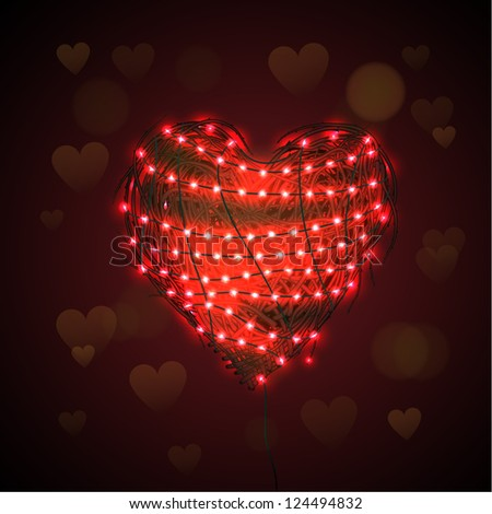 Abstract heart background with luminous garland, Valentine Day