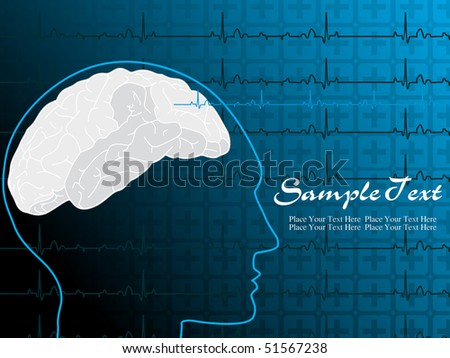 abstract heart beat background with human face illustration - stock vector