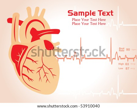 abstract heart beat background with human heart