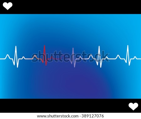 Abstract heart beats cardiogram illustration - vector  - stock vector