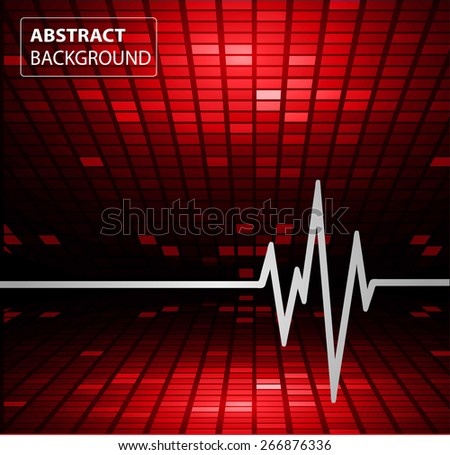 Abstract heart beats cardiogram. Pulse icon. red background. Mosaic table, pixels