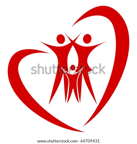 abstract heart family vector - stock vector