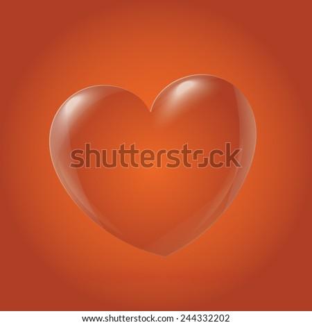 Abstract Heart Icon, orange - stock vector