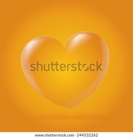 Abstract Heart Icon, yellow - stock vector