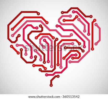 Abstract heart made from printed circuit board - stock vector
