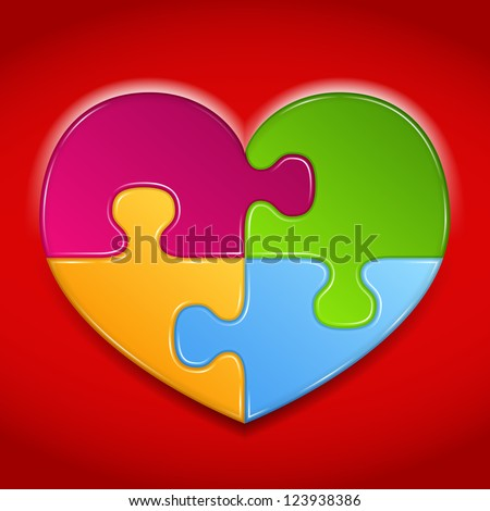 Abstract heart made of puzzle pieces on red background, vector eps10 illustration - stock vector