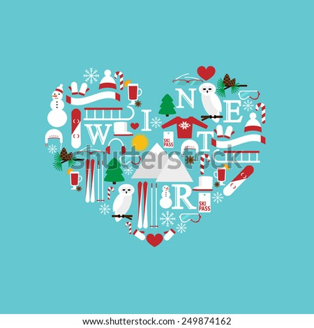 abstract heart symbol from winter colorful flat icons isolated on the blue background vector for design - stock vector