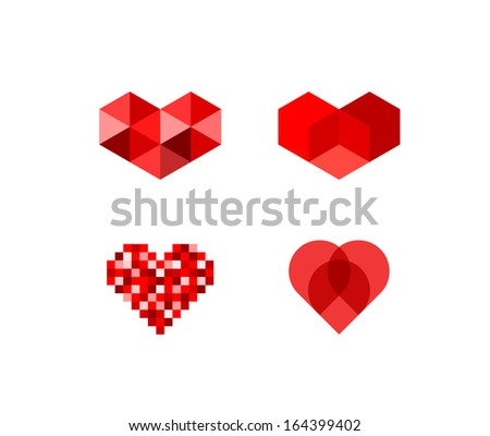 Abstract heart symbols - stock vector