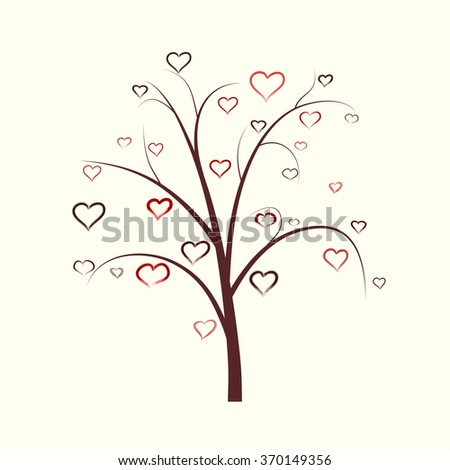 abstract heart tree with hand draw watercolors hearts for your design - stock vector