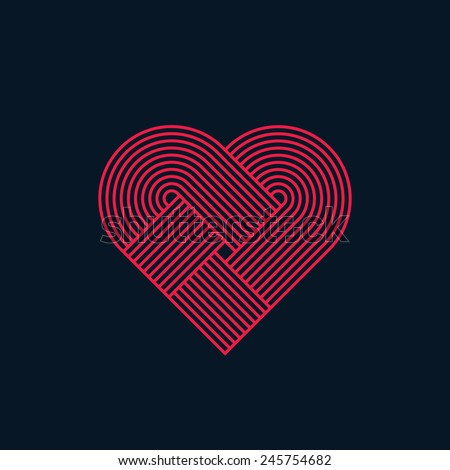 Abstract heart, twisted lines, line design, vector - stock vector