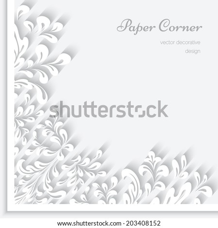 Abstract herbal background with paper swirls, vector corner ornament, eps10 - stock vector