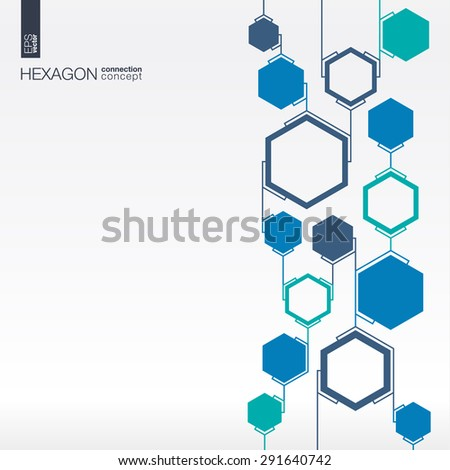 Abstract hexagon background with integrated polygons for Business Company, digital, interactive, network, connect, social media and global concepts. - stock vector