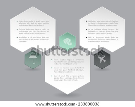 Abstract hexagon infographic design with icons and description - stock vector