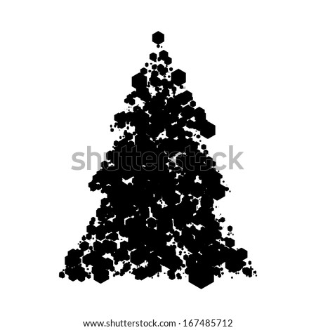 Abstract hexagon pattern christmas tree design isolated on white  Eps 10 vector illustration