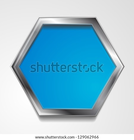 Abstract hexagon shape with silver frame. Vector background eps 10 - stock vector