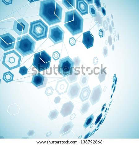 Abstract hexagonal sphere. Vector background - stock vector