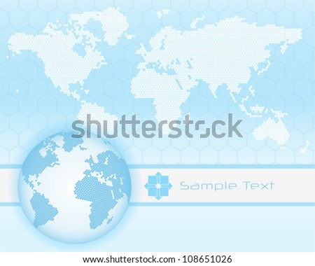 Abstract hi-tech background with earth globe - stock vector