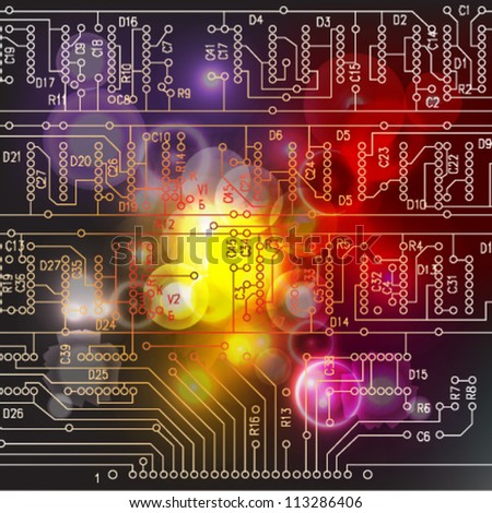 Abstract hi-tech electronic background. Circuit board pattern. Vector illustration - stock vector