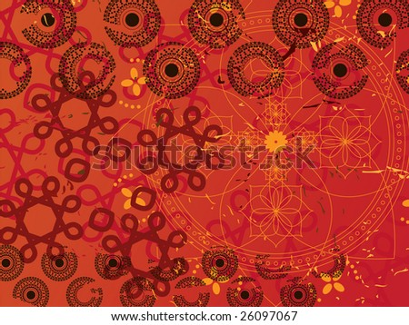 Abstract- high detail henna background - stock vector