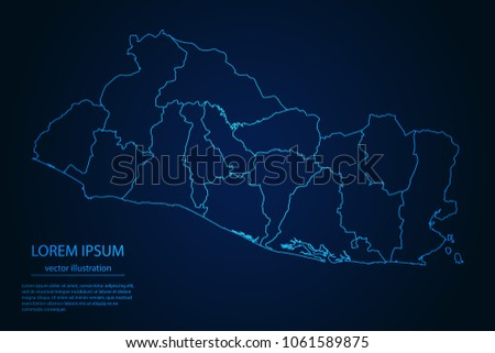Abstract High Detailed Glow Blue Map Stock Vector 1061589875