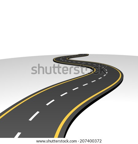 Abstract highway going to horizon with white copy space. - stock vector