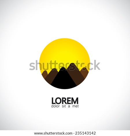 abstract hills and mountain ranges and evening sky icon - concept vector graphic. The graphic can also represent mountain ranges like the himalayas, andes, alps and also adventure sports & activities - stock vector