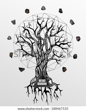 Abstract hipster poster with illustration drawn by hand and polygonal design element symbol sign