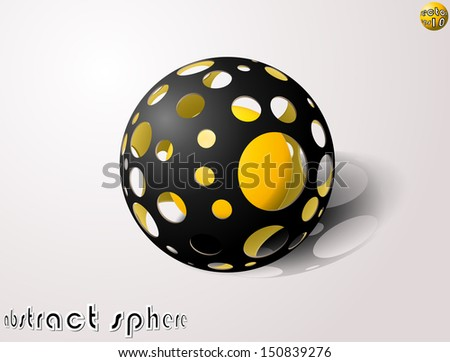 abstract holed sphere - stock vector
