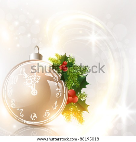 Abstract holiday background with Christmas decorated ball and pine-tree - stock vector