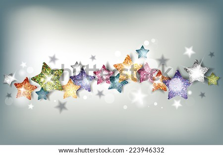 Abstract holiday background with textured colorful stars - stock vector
