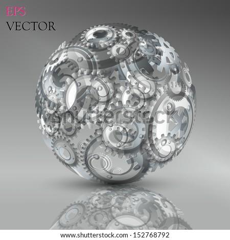Abstract hollow sphere, cogwheel - stock vector