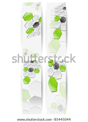 Abstract Honeycomb Horizontal Banner - stock vector