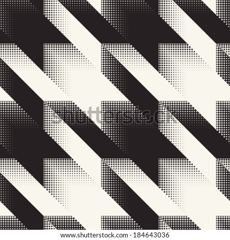 Abstract hounds tooth halftone background. Seamless pattern. Vector. - stock vector