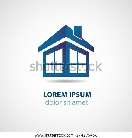 Abstract house logo design - stock vector