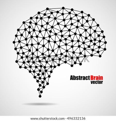 Abstract human brain from dots and lines, network connections, vector illustration eps 10
