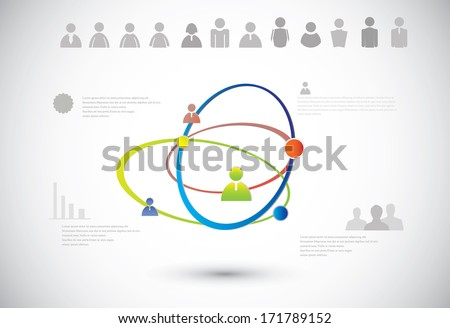 Abstract human connection on the gray background. - stock vector