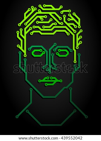 Abstract human face made from printed circuit board - stock vector
