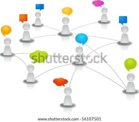 Abstract human figures connected in a network - stock vector