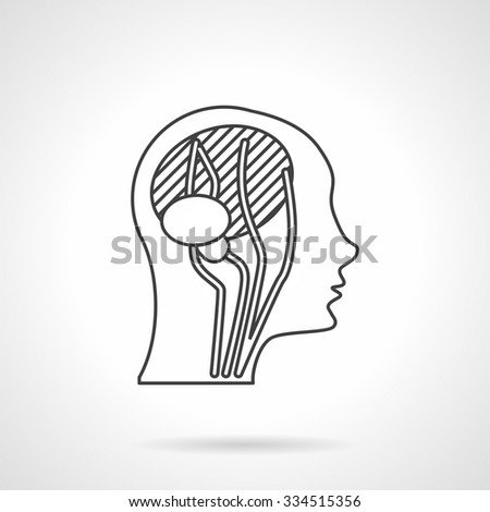Abstract human head a side view with imaging brain and neck blood vessels. Flat line style vector icon. Web design element for site or mobile application. - stock vector