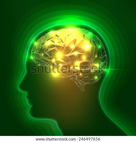 Abstract Human Head Silhouette with a Brain. Stock Vector Illustration - stock vector