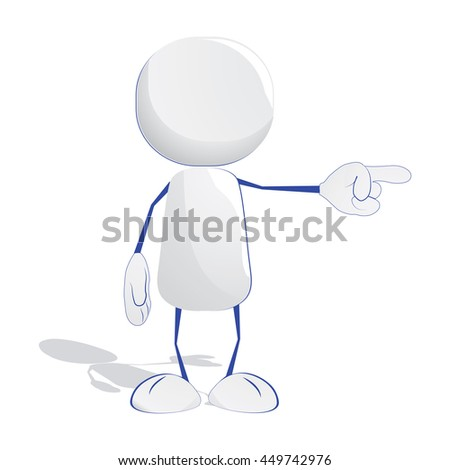 Abstract human icon pointing with his finger to the side - stock vector