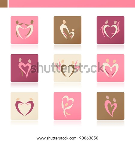 Abstract human silhouettes in the shape of heart. Icon set. - stock vector