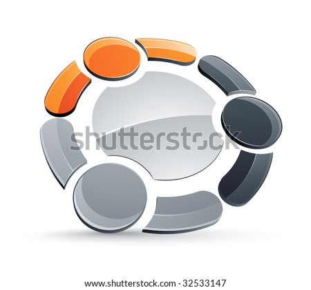 Abstract humans together design element - stock vector