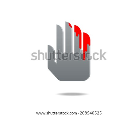 Abstract Icon Bloody Hand Symbol Violence Stock Vector 208540525